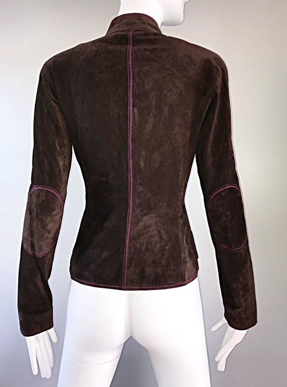 Vintage Emanuel Ungaro Leather Suede Chocolate Brown + Purple 1990s Moto Jacket 3