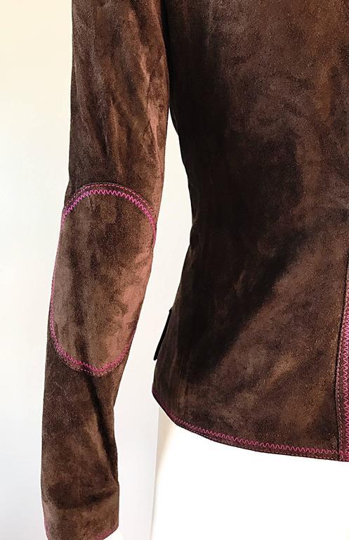 Vintage Emanuel Ungaro Leather Suede Chocolate Brown + Purple 1990s Moto Jacket 4