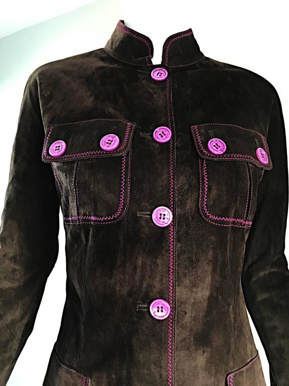 Vintage Emanuel Ungaro Leather Suede Chocolate Brown + Purple 1990s Moto Jacket 5