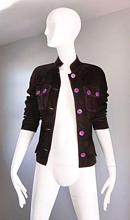 Vintage Emanuel Ungaro Leather Suede Chocolate Brown + Purple 1990s Moto Jacket 6
