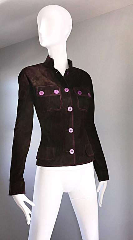 Vintage Emanuel Ungaro Leather Suede Chocolate Brown + Purple 1990s Moto Jacket 7