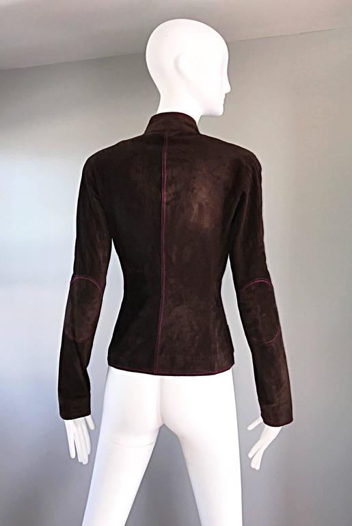 Vintage Emanuel Ungaro Leather Suede Chocolate Brown + Purple 1990s Moto Jacket 8