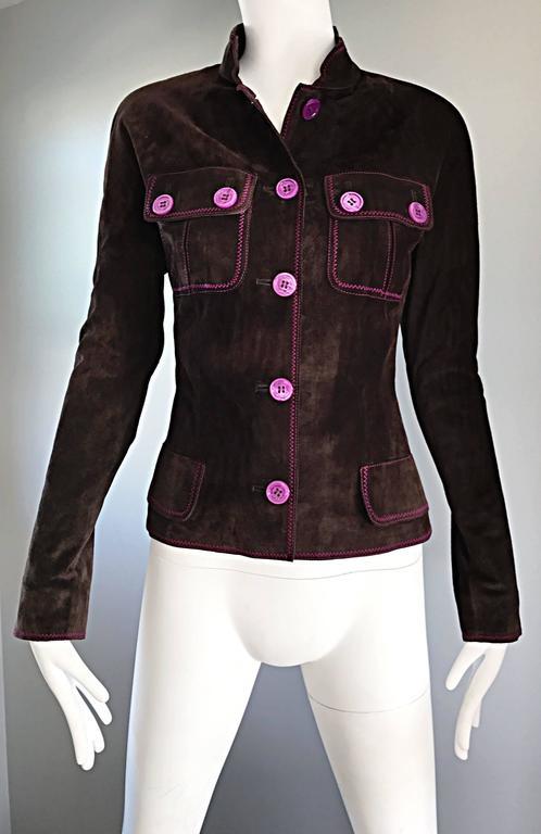 Vintage Emanuel Ungaro Leather Suede Chocolate Brown + Purple 1990s Moto Jacket 9