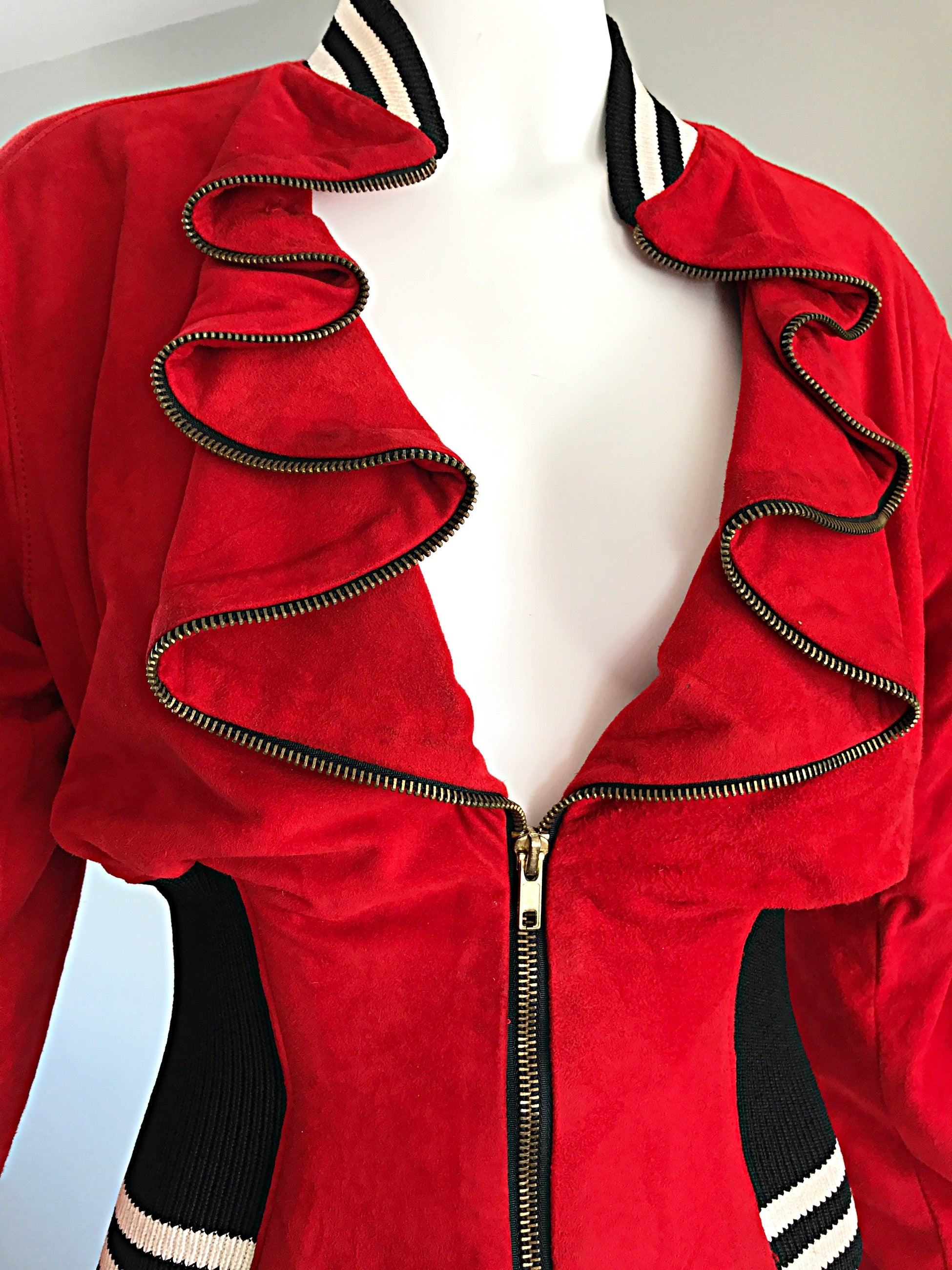 Rare Vintage Byron Lars 1990s Red Leather Suede Varsity 90s ' Zipper '  Jacket at 1stdibs