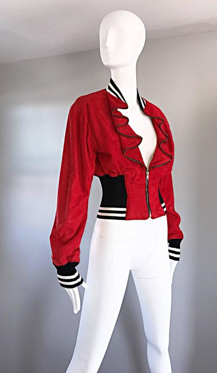 Rare Vintage Byron Lars 1990s Red Leather Suede Varsity 90s ' Zipper ' Jacket 4