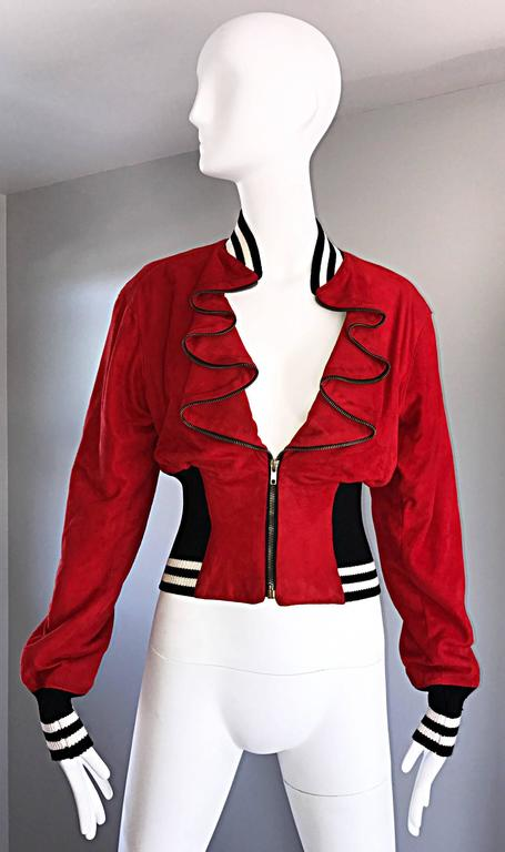 Rare Vintage Byron Lars 1990s Red Leather Suede Varsity 90s ' Zipper ' Jacket 5