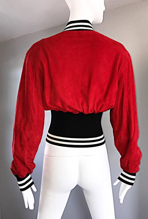 Rare Vintage Byron Lars 1990s Red Leather Suede Varsity 90s ' Zipper ' Jacket 6