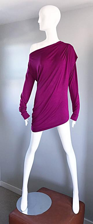 Sexy vintage VIVIENNE WESTWOOD magenta pink Grecian styles off-the-shoulder tunic top, or mini dress! Features intricate draping details throughout. Can be worn multiple ways (see photos). Can also be worn as a daring mini dress, or with leggings,