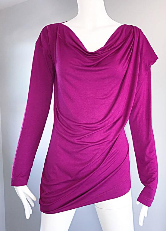 Vivienne Westwood Vintage 90s Magenta Fuchsia Pink Avant Garde Tunic Top Dress In Excellent Condition For Sale In San Francisco, CA