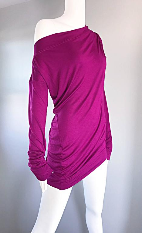Vivienne Westwood Vintage 90s Magenta Fuchsia Pink Avant Garde Tunic Top Dress For Sale 2