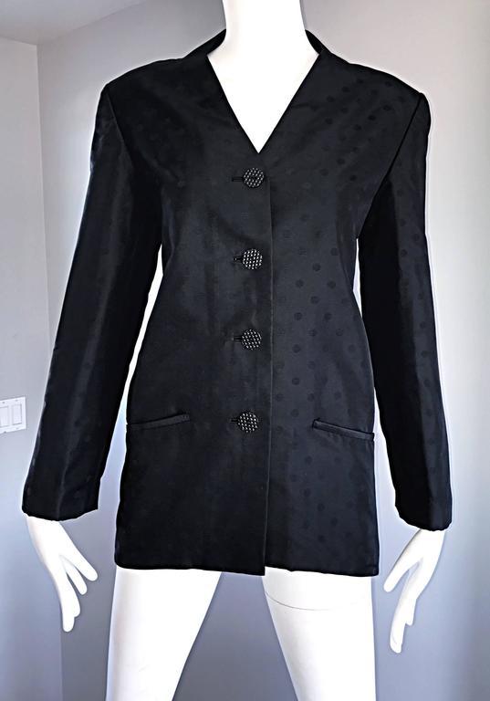 Geoffrey Beene Vintage Black Polka Dots 1990s 90s Classic Silk Jacket Blazer 4