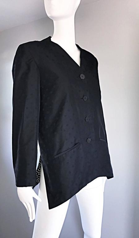 Geoffrey Beene Vintage Black Polka Dots 1990s 90s Classic Silk Jacket Blazer 5