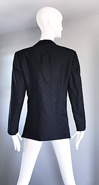 Geoffrey Beene Vintage Black Polka Dots 1990s 90s Classic Silk Jacket Blazer 6