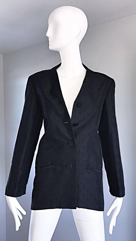 Geoffrey Beene Vintage Black Polka Dots 1990s 90s Classic Silk Jacket Blazer 7