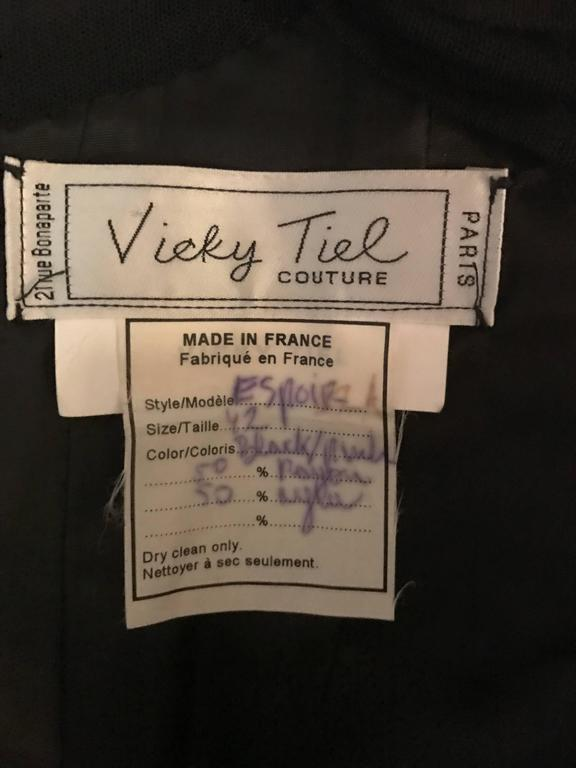 Vintage Vicky Tiel Couture Sexy Black Cut - Out Silk Moire Bustier Corset Top  10