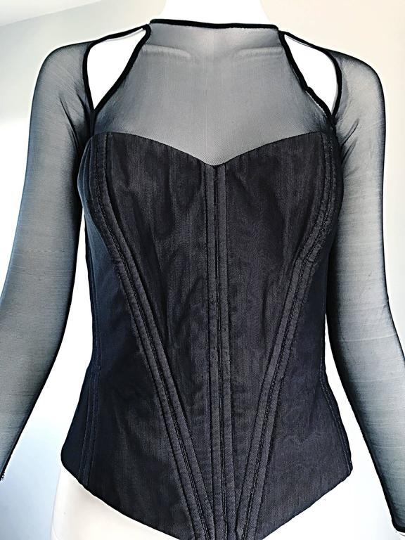 Women's Vintage Vicky Tiel Couture Sexy Black Cut - Out Silk Moire Bustier Corset Top  For Sale