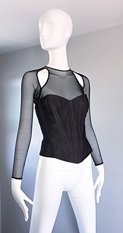 Vintage Vicky Tiel Couture Sexy Black Cut - Out Silk Moire Bustier Corset Top  For Sale 1