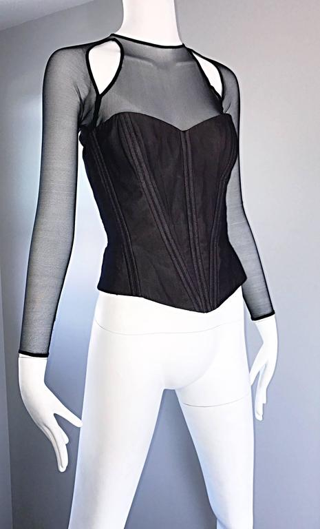 Vintage Vicky Tiel Couture Sexy Black Cut - Out Silk Moire Bustier Corset Top  For Sale 3