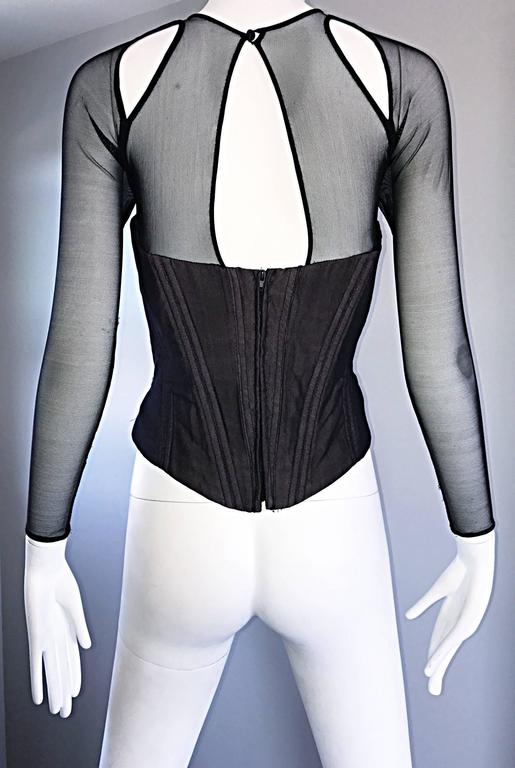 Vintage Vicky Tiel Couture Sexy Black Cut - Out Silk Moire Bustier Corset Top  For Sale 4
