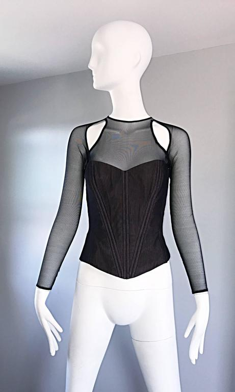 Vintage Vicky Tiel Couture Sexy Black Cut - Out Silk Moire Bustier Corset Top  For Sale 5