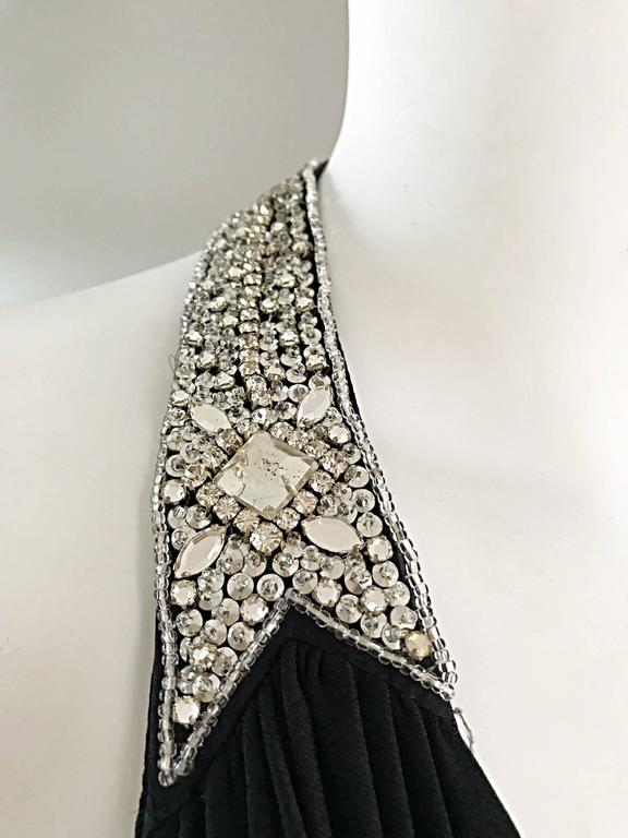 Women's 1970s Victoria Royal Black Jersey Rhinestone Encrusted 70s Grecian Halter Gown  For Sale