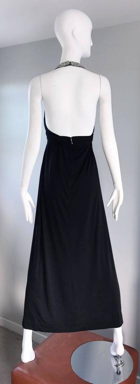 1970s Victoria Royal Black Jersey Rhinestone Encrusted 70s Grecian Halter Gown  For Sale 1