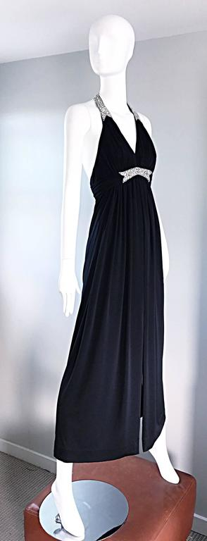 1970s Victoria Royal Black Jersey Rhinestone Encrusted 70s Grecian Halter Gown  For Sale 2