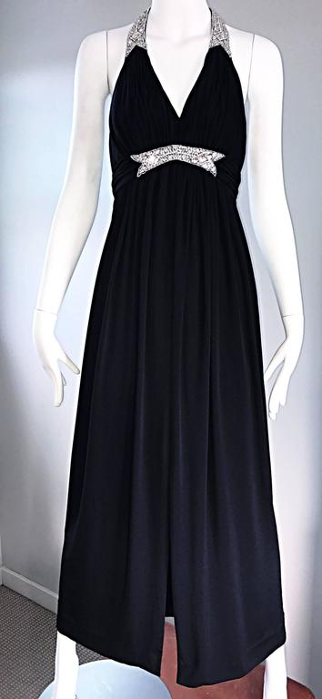 1970s Victoria Royal Black Jersey Rhinestone Encrusted 70s Grecian Halter Gown  For Sale 3