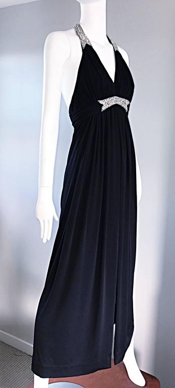 1970s Victoria Royal Black Jersey Rhinestone Encrusted 70s Grecian Halter Gown  For Sale 4
