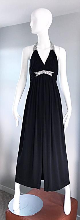 1970s Victoria Royal Black Jersey Rhinestone Encrusted 70s Grecian Halter Gown  For Sale 5