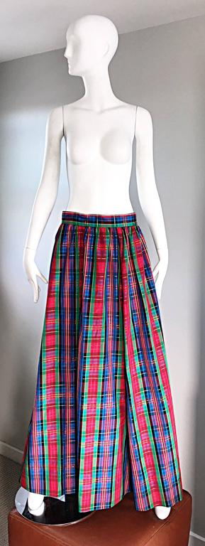 Chic 1960s Tartan Plaid Vintage 60s Taffeta Red + Green + Blue Long Full Skirt 2