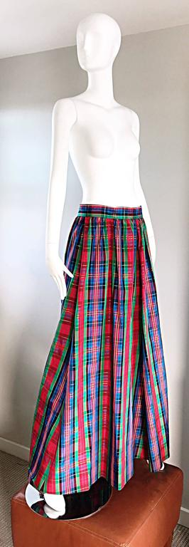 Chic 1960s Tartan Plaid Vintage 60s Taffeta Red + Green + Blue Long Full Skirt 6