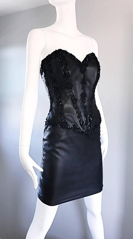 Rare Vintage Vicky Tiel Couture Leather Black Bustier Corset Sequin Beaded Dress For Sale 3