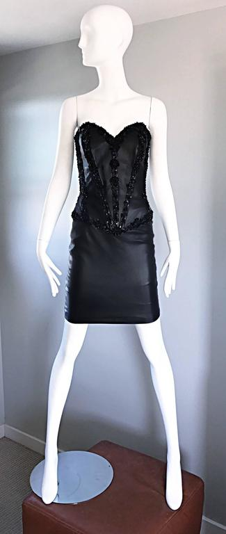 Rare Vintage Vicky Tiel Couture Leather Black Bustier Corset Sequin Beaded Dress For Sale 5