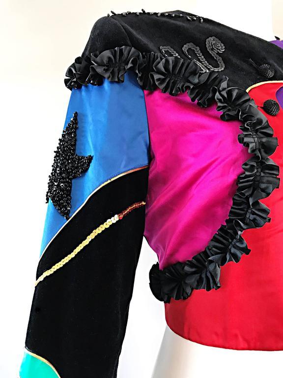 Black Rare Vintage Louis Feraud ' Matador ' Cropped Sequined Circus Jacket Bolero   For Sale