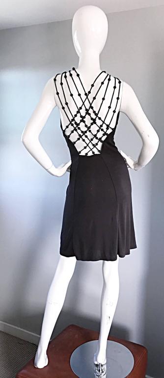Vintage Celine by Michael Kors 1990s Moss Green Wooden Beaded 90s Jersey Dress 5
