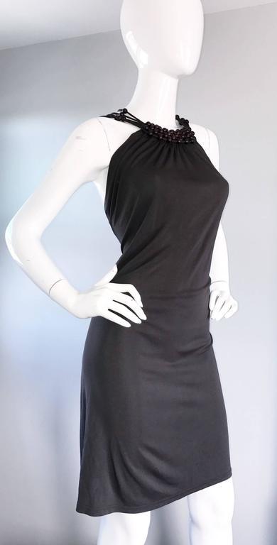 Vintage Celine by Michael Kors 1990s Moss Green Wooden Beaded 90s Jersey Dress 6