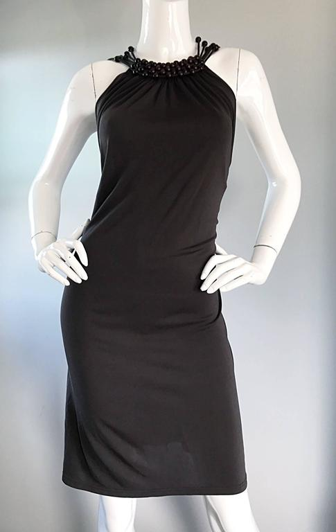 Vintage Celine by Michael Kors 1990s Moss Green Wooden Beaded 90s Jersey Dress 7