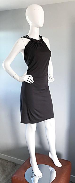 Vintage Celine by Michael Kors 1990s Moss Green Wooden Beaded 90s Jersey Dress 8