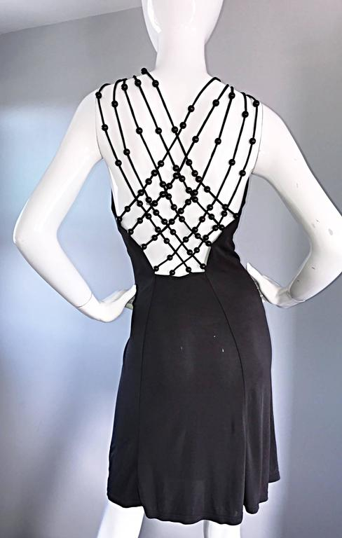 Vintage Celine by Michael Kors 1990s Moss Green Wooden Beaded 90s Jersey Dress 9
