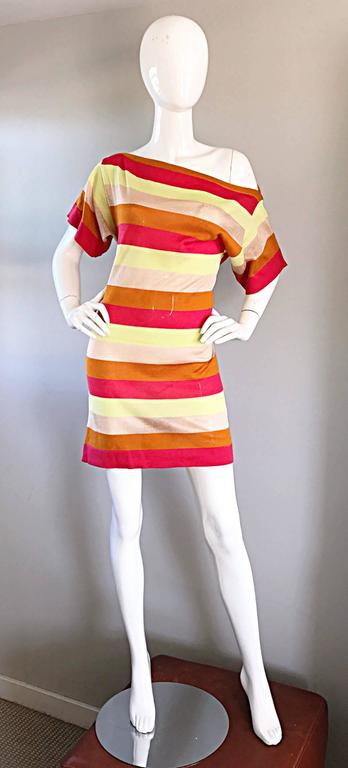 Amazing Missoni 1990s Vintage Cut - Out Back Metallic Striped 90s Knit Dress  2