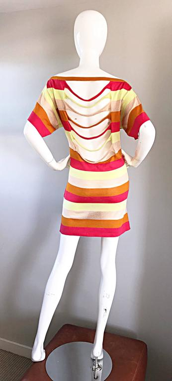 Amazing Missoni 1990s Vintage Cut - Out Back Metallic Striped 90s Knit Dress  3