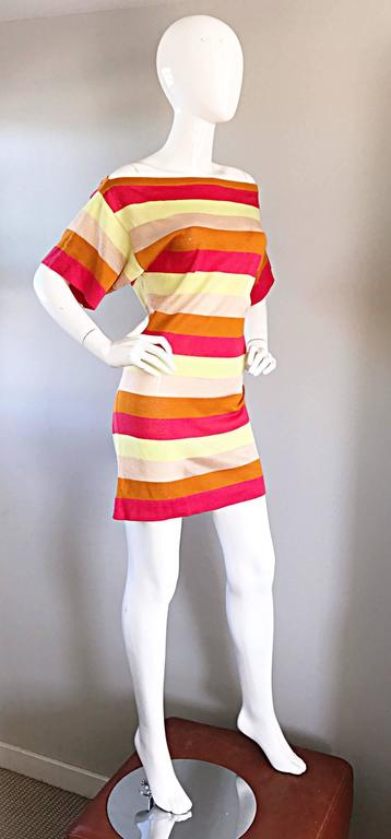 Amazing Missoni 1990s Vintage Cut - Out Back Metallic Striped 90s Knit Dress  8