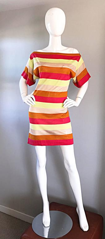 Amazing Missoni 1990s Vintage Cut - Out Back Metallic Striped 90s Knit Dress  5