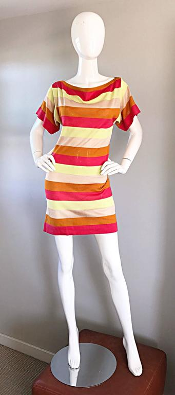Amazing Missoni 1990s Vintage Cut - Out Back Metallic Striped 90s Knit Dress  7