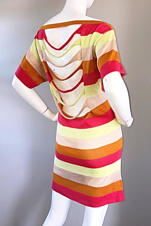 Amazing Missoni 1990s Vintage Cut - Out Back Metallic Striped 90s Knit Dress  6