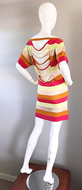 Amazing Missoni 1990s Vintage Cut - Out Back Metallic Striped 90s Knit Dress  9