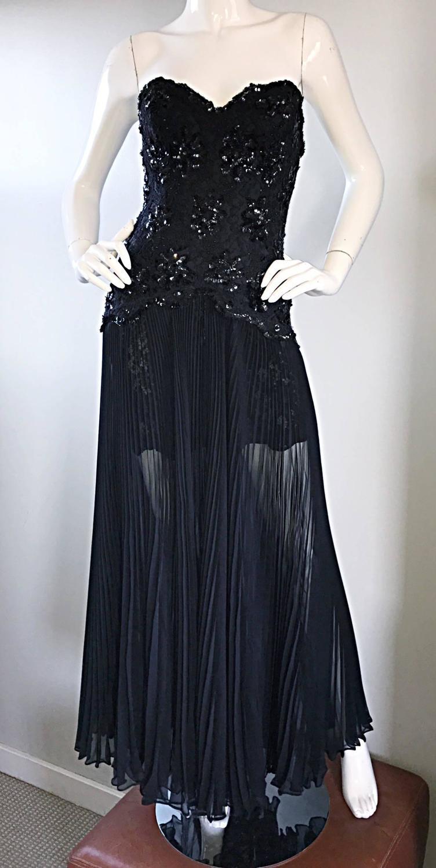 Vintage Lillie Rubin Black Strapless Chiffon Sequined Sexy