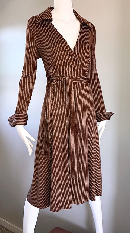 1970s Diane Von Furstenberg Vintage Sz 14 Brown Ivory