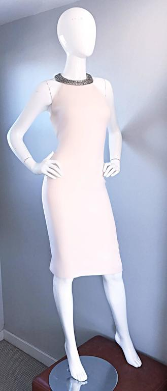 Michael Kors Collection Ivory Size 6 Grecian Silver Chain Neck Wool Runway Dress For Sale 1